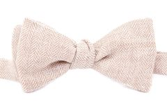 Elegant bright bow tie made ​​of linen. On white background Stock Image