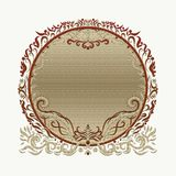 Elegant bright gold round frame, painted lines with swirls.  Stock Image