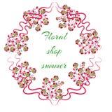 Elegant Bright logo for a flower shop. Vector illustration with roses Stock Images