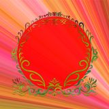 Elegant bright round frame, painted lines with swirls, on bright. Rainbow background Stock Images