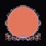 Elegant bright round frame with texture on black background, pai. Nted lines with swirls Stock Image