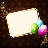 Elegant brown background with decorated Eastereggs. Card with brilliant Easter eggs and sparkles. Graphics are grouped and in several layers for easy editing Stock Photos
