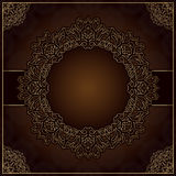 Elegant brown background with round lace ornament. Elegant brown background with round gold lace ornament Stock Image