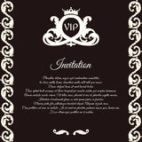 Elegant brown card for vip greetings and invitations. In Victorian style, with foliage and crown. Stock Images