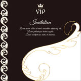 Elegant brown card for vip greetings and invitations. In Victorian style, with foliage. Royalty Free Stock Images