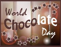 Elegant brown color background with beautiful text design of happy chocolate day. World Chocolate Day. A poster with an inscription, a texture of a chocolate royalty free illustration