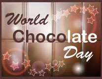 Elegant brown color background with beautiful text design of happy chocolate day. World Chocolate Day. A poster with an inscription, a texture of a chocolate vector illustration