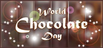 Elegant brown color background with beautiful text design of happy chocolate day. World Chocolate Day. A poster with an inscription, a texture of a chocolate stock illustration