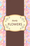 Elegant brown and cream label card tag with flower garden backgr Royalty Free Stock Photography