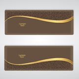 Elegant brown leather horizontal banner with a gold stripe. Vector Stock Photo