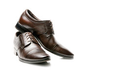 Elegant brown leather men's shoes. Stock Photo