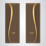 Elegant brown leather vertical banner with the gold stripe. Vector Stock Image