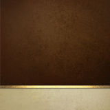 Elegant brown paper background with white border and gold ribbon trim or stripe