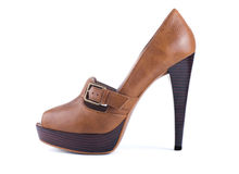 Elegant brown shoes. With heels on a white background isolated Royalty Free Stock Images
