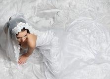 Elegant brud från över fotografering för bildbyråer