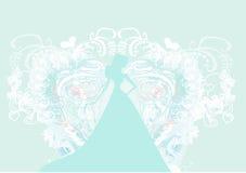 Elegant brud i stor vit klänning Royaltyfria Foton