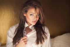 Elegant brunettdam som ser kameran Royaltyfri Bild