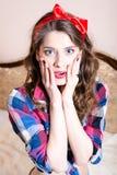 Elegant brunette beautiful young woman pinup girl  Stock Photos