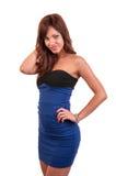 Elegant brunette in blue dress posing Stock Photos