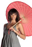 Elegant brunette holding umbrella Stock Image