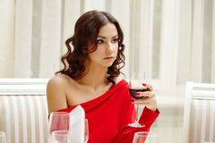 Elegant brunette over dinner in restaurant Stock Images