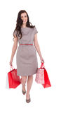 Elegant brunette with shopping bags Royalty Free Stock Photo