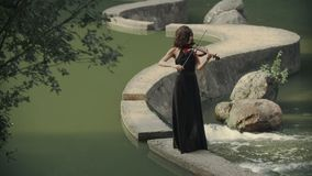 Elegant brunette violinist in forest plays on bridge outdoors stock footage