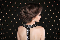 Elegant Brunette woman with hairstyle Stock Image