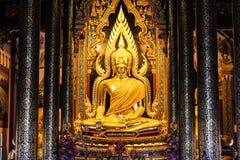 Elegant Buddha. Phitsanulok, Thailand - June 15 : I took image of Buddha - Phaphutthachinnarat on June,15 2014 in Phitsanulok, Thailand.Thai people are royalty free stock photos