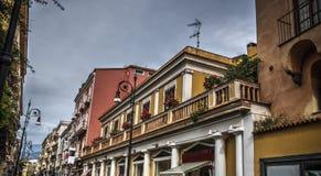 Elegant buildings in world famous Sorrento main street. Campania, Italy stock image