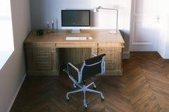 Elegant bureaukabinet met een een leerstoel en parket 3d trek uit Royalty-vrije Stock Foto