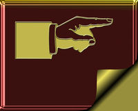 Elegant Burgundy and gold colored stationary with gold page curl - hand pointing to show direction Stock Photography