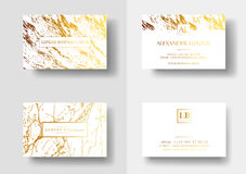 Elegant business cards with marble texture and gold detail vector template, banner or invitation with golden foil Royalty Free Stock Photography