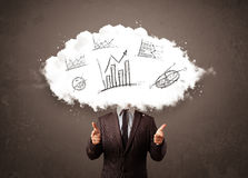 Elegant business man cloud head with hand drawn graphs Royalty Free Stock Images