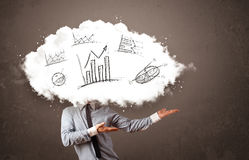 Elegant business man cloud head with hand drawn graphs Stock Image