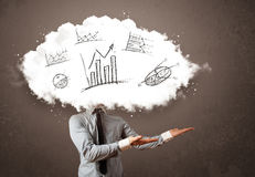 Elegant business man cloud head with hand drawn graphs Stock Images