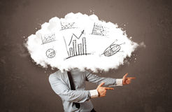Elegant business man cloud head with hand drawn graphs. Concept Royalty Free Stock Photography