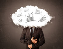 Elegant business man cloud head with hand drawn graphs Royalty Free Stock Photos