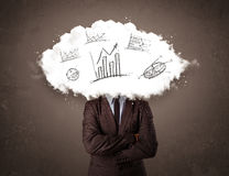 Elegant business man cloud head with hand drawn graphs Stock Photos