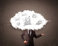 Elegant business man cloud head with hand drawn graphs Royalty Free Stock Photography