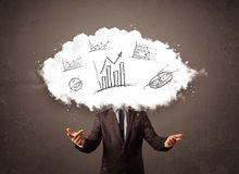 Elegant business man cloud head with hand drawn graphs Stock Photo