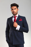Elegant business man in double breasted suit looking up Stock Photo