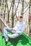 Elegant business multitasking multimedia man stock photography