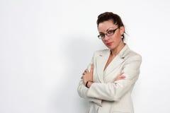 Elegant business woman. Elegant modern business woman with eyeglasses Royalty Free Stock Photos