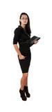 Elegant business woman holding portfolio. Isolated white Stock Images