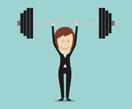 Elegant business woman lifting barbell above head Royalty Free Stock Image