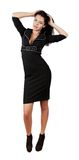 Elegant business woman in stylish dress. Isolated white Stock Photography