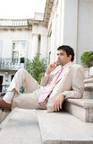 Businessman speaking on cell phone. Stock Photo