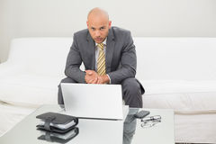Elegant businessman with laptop and diary sitting at home. Portrait of a serious elegant young businessman with laptop and diary sitting at home Royalty Free Stock Images