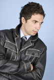 Elegant businessman in leather jacket Stock Image